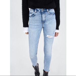 Zara Distressed High Rise Skinny Jean